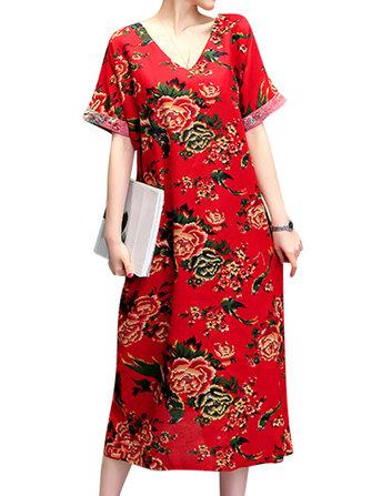 Floreale stampato V-Neck donne delle tasche vestiti lunghi casuali