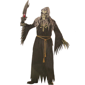 Halloween Costume Adult Mens Fancy Skeleton Ghost Clothing Black Robe Cosplay Costume