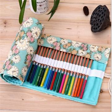 36/48/72 Rose Clock Pencil Roll Wrap Holder Colored Drawing Sketching Bag Case