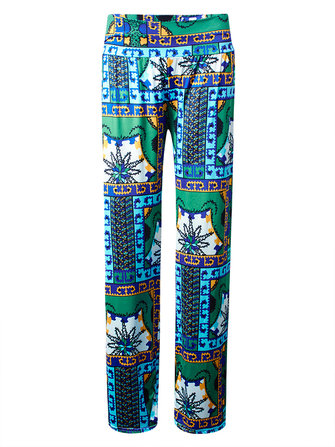 Boheemse Floral Stretch Taille Women Wide Leg Pants