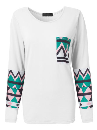 Casual Loose Geometric Pattern Pocket Patchwork Women T-Shirt