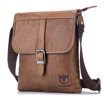 Men Black Brown Leather Crossbody Bag Casual Shoulder Sling Bag ...