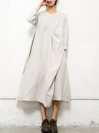 Gracila Casual Loose Pure Color Pocket Mid-long Dress