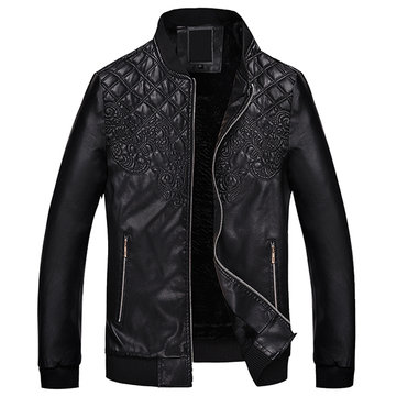 Herenmode PU Leather Motor Jacket Dikker Warm Staand Kraag Casual Coat