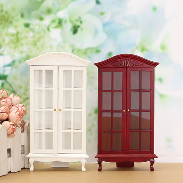 1/12 Dollhouse Miniature Furniture Modern White Red Wooden Pantalla Cabinet Doll House Accessories