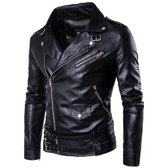 Oblique Zipper Punk PU Leather PU Leather Jacket Slim Fit Halley Motor Jacket for Men