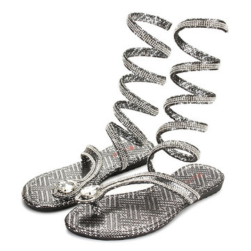 Fashion Women Flat Heel Bling Rhinestone Slingback Gladiator Sandals Shoes New