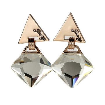Geometric Triangle Gem Pendant Ear Drop Statement Earrings For Women