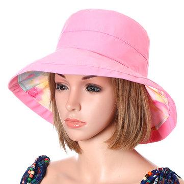 Women Foldable Waterpoof Sunscreen Cap Double-side Summer Beach Sun Protective Visor Hat