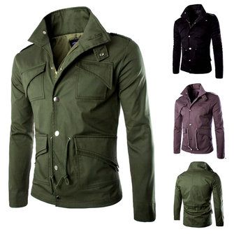 Men's Military Style Stand Collar Winter Jacket Slim Fit Fashion ...