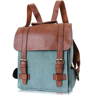 Women Vintage Canvas Leather Travel Backpack Satchel Rucksack Laptop School Bag