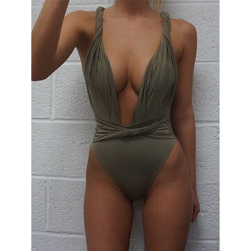 Solid Color Sexy Low-cut Harness One Piece Swimsuit