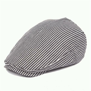 b2054c28326 Buy Men Cotton Stripe Beret Hat Outdoor Visor Flat Cap Women Adjustable  Paper Boy Newsboy Hats