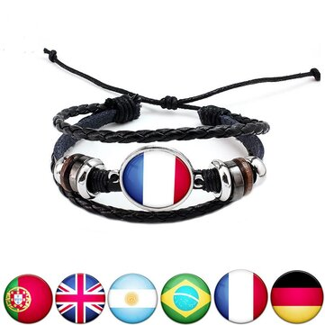Unisex National Flag Pattern Bracelet Alloy Leather Rope Bracelet for Men Women