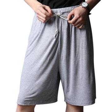 Мужчины вскользь Домашний комфорт Breathable Loose Elastic Big Size Knee Длина Sleepwear Lounge Shorts
