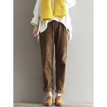 Casual Solid Color Elastic Waist Corduroy Pants