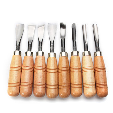 8Pcs Carving Wood Handle Chisels Sets Woodworking DIY Tools Professional Gouges