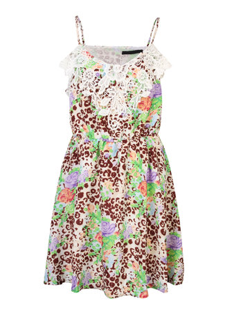 Casual Women Floral Printing Lace SPaghetti Straps Sleeveless Mini Dress