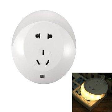 5W cinco buracos placa de parede tomada do carregador LED luz da noite sensor para casa de banho quarto 220v