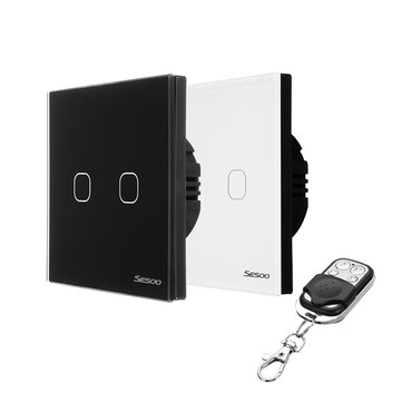 SESOO SY6-02-X EU/UK Standard 2 Gang 1 Way RF433 Remote Smart Wall Switch Wireless Remote Control Switches Work With Broadlink RM Pro