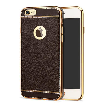 Bakeey ™ Litchi Grain Plating TPU Silicone Ultra Dunne Cover Case voor iPhone 6Plus & 6sPlus 5.5 Inch