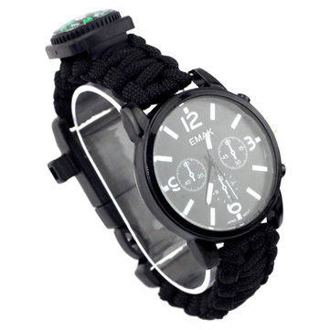 IPRee® 7 In 1 EDC Survival Compasss Bracelet Watch 3ATM Waterproof Emergency Paracord Wristband