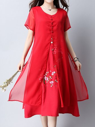 Elegant Embroidered Short Sleeve Fake Two Piece Mid-long Dress