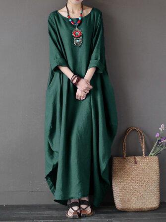 L-5XL Women Casual Loose Pure Color Baggy Maxi Dress