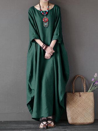 L-5XL vrouwen casual losse pure kleur baggy 3/4 mouwen maxi jurken