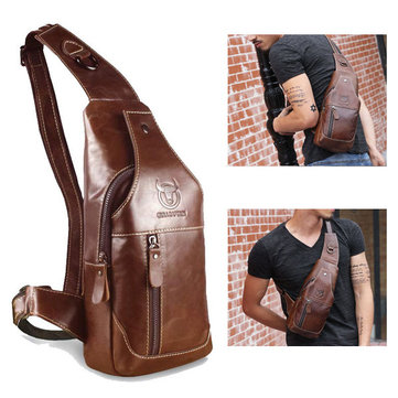 Men Genuine Leather Business Casual Brown Black Shoulder Crossbody ...
