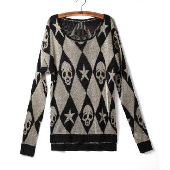 Loose Skull Star Designs Round Collar Long Sleeve Pullover Sweater