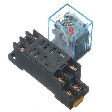 220V 10A Coil Power Relay DPDT LY2NJ HH62P HHC68A-2Z With Socket Base