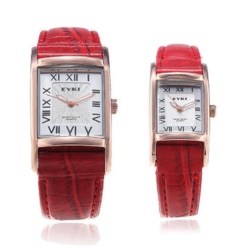 Eyki Rectangle Roman Numerals Lovers Couple Leather Wrist Watch 8116