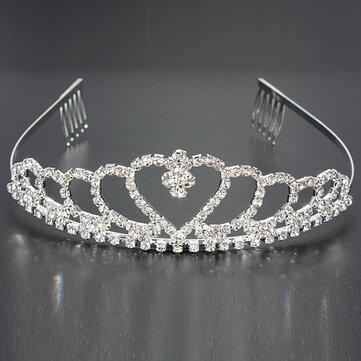 Wedding Bride Crystal Rhinestones Heart-shaped Crown Hair Tiara