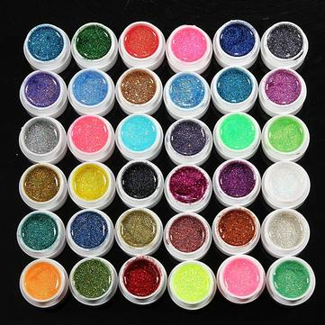 36 Pots Glitter Powder UV Builder Gel Nail Art Decoration Set