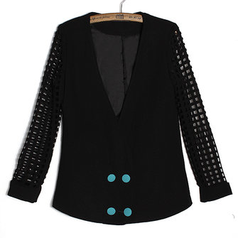 2013 Women Spring Black Small Suit Profile Hollow Out Sleeve Coat