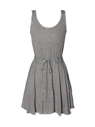 Vintage Hounds-tooth Pattern Waist Sleeveless Vest Dresses