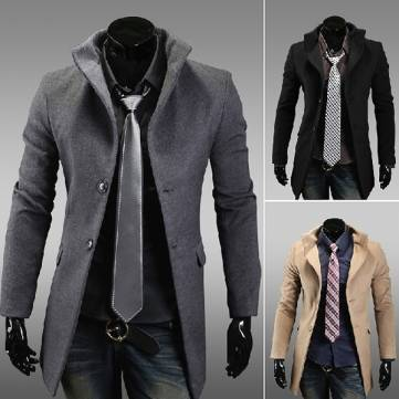 Mens High Collar Single Breasted Long Coat - US$39.89 sold out