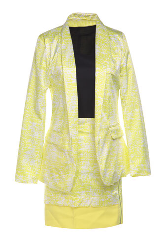 Women's Office 2-piece Short Skirt And Suit Yellow Black Suits
