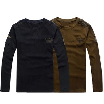 Mens outdoor army casual cotton round neck long sleeve t for Mens outdoor long sleeve shirts