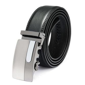 Men Automatic Buckle Leather Business Black Belt
