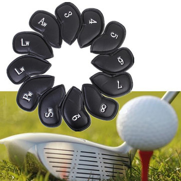 12PCS PU Leather Golf Iron Club Putter Headcovers Protective Covers