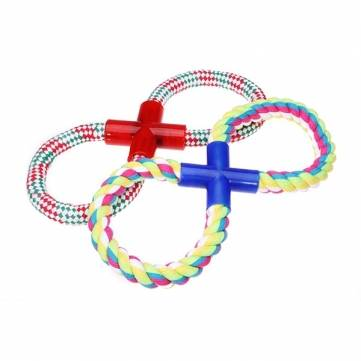 Figure 8 Style Stripe Cotton Rope Chew Toy for Pet Dogs Cats