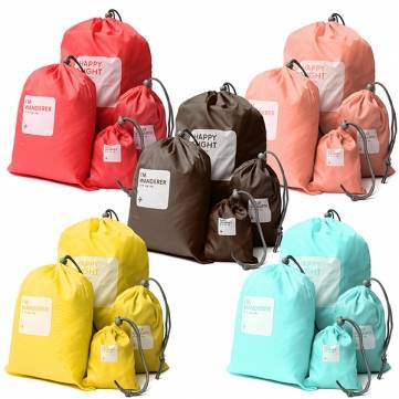 4Ps Drawstring Storage Travel Bag Waterproof Candy Color XS S M L