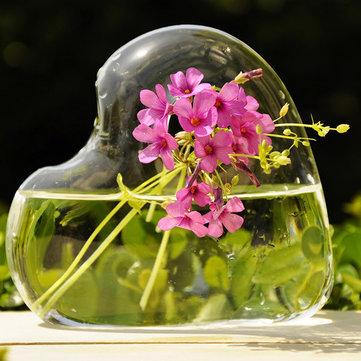 Flor em forma de coração plantas hidropônicas vaso de vidro partido home decor