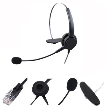 RJ11 Telephone Headset Noise Cancelling Microphone Earphone Headphone For Desk Phones