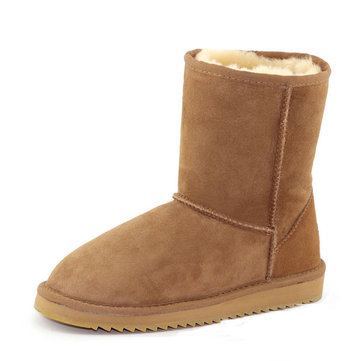 MG New Winter Women Wool Sheepskin Keep Warm Fashion Round Toe Low Heel Mid-Calf Boots Snow Boots