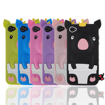 3D Cute Pig Piggy Crown Soft Rubber Silicone Skin Case For iPhone 4