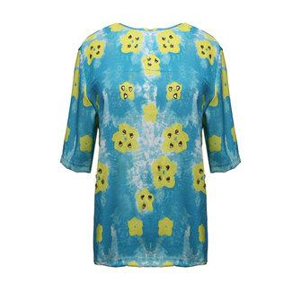 Bg-impressão gola redonda flor de mão-beading solta mangas curtas t-shirt